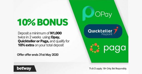Betway ng: 10% extra on your total deposit this period